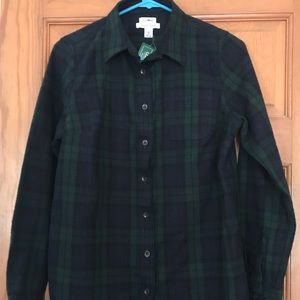 L.L. Bean men's XS blue and green flannel NWT